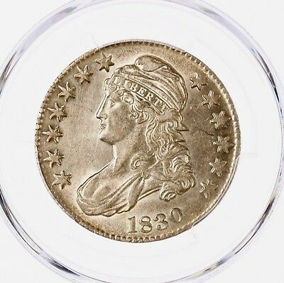 1830 Capped Bust 50C PCGS Certified Cleaning AU Details Small 0 Silver Half Coin