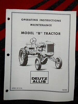 ALLIS CHALMERS MODEL B Technical Manual Military - $16.98 ... on