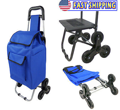 Trolley Dolly Stair Climbing Cart Tri Wheel Foldable Portable Hand Tool Cart
