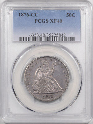1876-Cc Liberty Seated Half Dollar Pcgs Xf-40
