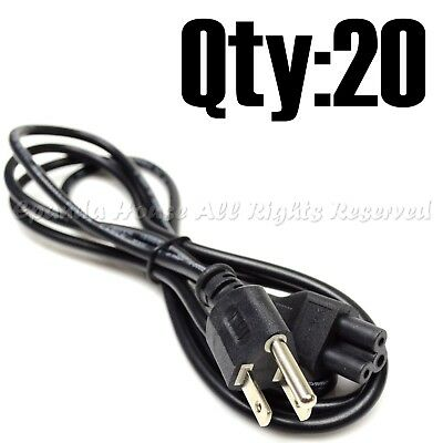 20Pc Super Combo 6Ft Computer Electronics Ac Power Supply Cord Wire 3-Prong Usa