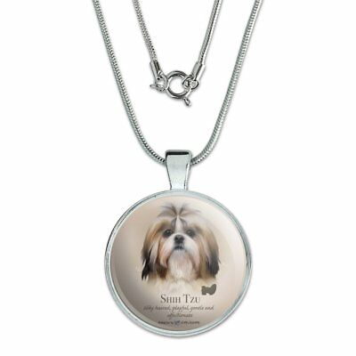 "Shih Tzu Dog Breed 1"" Pendant with Sterling Silver Plated Chain"