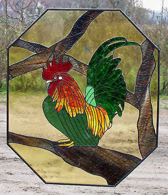 Leaded Glass Window Image / Wall Picture Chabo- Rooster Unique Item in Tiffany