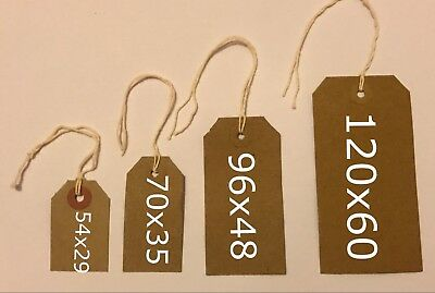 Quality brown parcel strung/price tags tie on craft label 4 sizes free postage