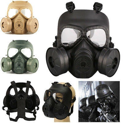Gas Mask Double Filter Fan CS Edition Perspiration Dust Eye Protect Face Guard *