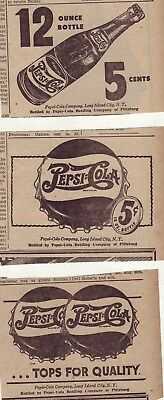 Three 1946 newspaper ads for Pepsi - Tops for Quality, 12 ounce bottle, 5 cents