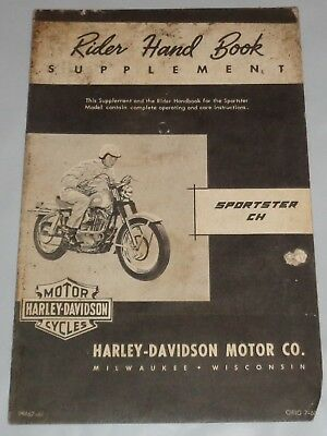 RARE Harley Davidson 1960 Sportster CH Rider's Supplement Hand Book As Pictured