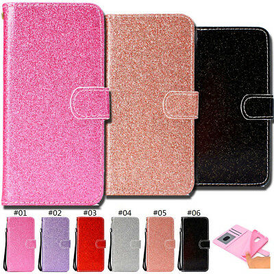 Bling Card Slot Protective Case Cover PU Leather Shine Wallet Glitter Flip Stand