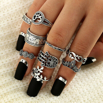 9pcs/set Bohemian Gypsy Vintage Retro Style Joint Knuckle Nail Ring Jewelry