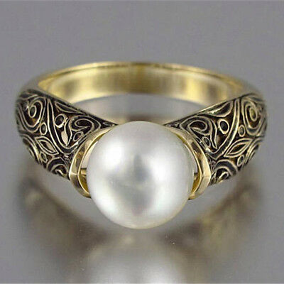 Vintage Faux Pearl Bronze Ring Retro Band Wrap Rings Women Jewelry Gift