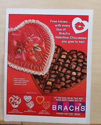 1967 magazine ad for Brach's Candy - Valentine Heart with Chocolates, get kisses