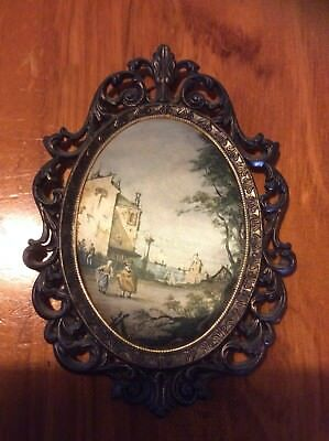 Italian Made Silk Wall Picture Heavy Metal Frame 12cm