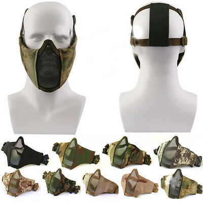 Adjustabl Airsoft Mesh Mask Tactical Face Protection Mask Paintball CS Game Gift