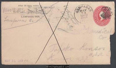 USA 1899 (May) Embossed Cover and Letter Lampasas Texas to Topeka Kansas