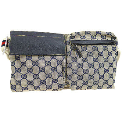 bd4770315bc Authentic GUCCI Shelly Line GG Bum Bag Waist Pouch Navy Canvas Leather  V30573