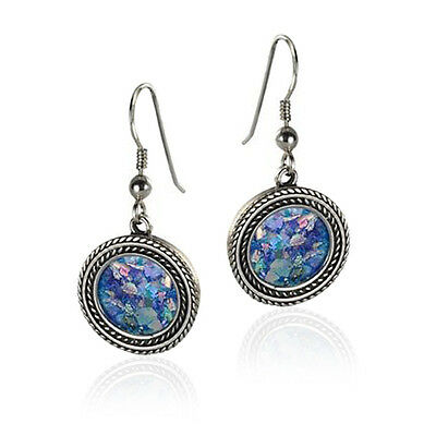 Blue Roman Glass Handmade Jewelry Twisted Wire Sterling Silver Round Earrings