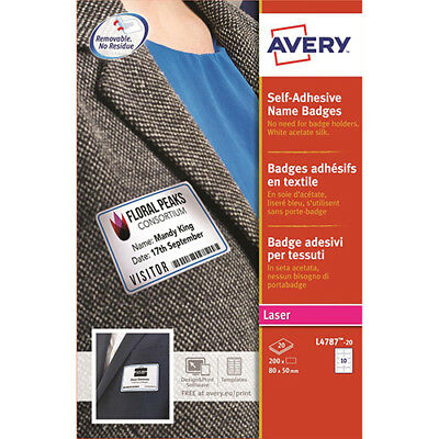 Avery Name Badge Labels Laser Self-adhesive 80x50mm Blue Border Ref L4787-20 [20