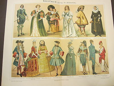 Costumes Iii (17Th To 19Th Century) 1800's German Chromolithograph-Dresses-Hats