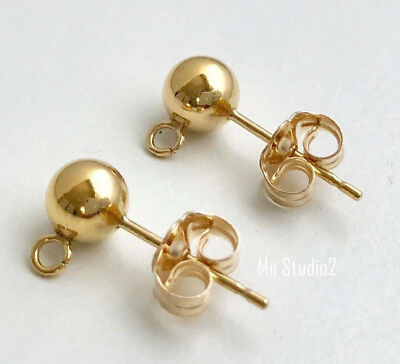 4pcs 14k Gold Filled 5mm Ball Bead Earring Posts with Earring Backing E72g