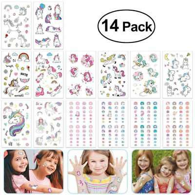 14Pcs Temporary Tattoos Unicorn Dinosaur Stickers Party Supplies Favors kids