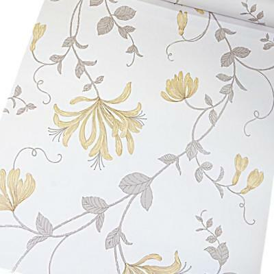 Crown Yellow White Grey Taupe Floral Trail Flower Metallic Leaf Wallpaper M1302