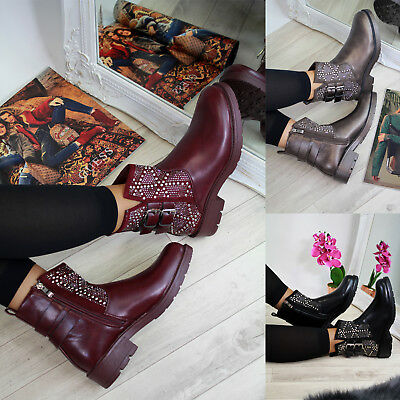 New Womens Ladies Ankle Boots Studs Buckle Zip Casual Low Heel Shoes Sizes 3-8
