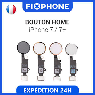 BOUTON HOME IPHONE 7 / 7+ Plus NAPPE FLEX NOIR+BLANC+ROSE+OR Qualité premium