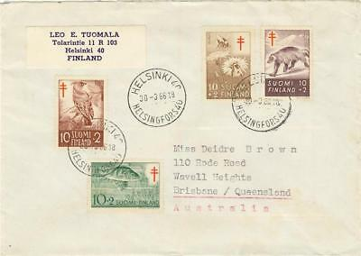 FINLAND cover 4 tuberculosis stamps 1954-1957 Postmark Helsinki to Brisbane Aust