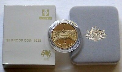 1988 $5 PROOF COIN (First Year of Issue) - NEW PARLIAMENT HOUSE AUSTRALIA