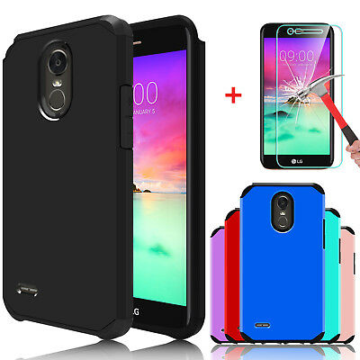 For LG Stylo 3/3 Plus Slim Armor Case Cover With Tempered Glass Screen Protector