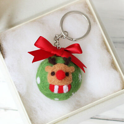 DIY Wool Needle Felting Kit for Making Christmas Deer Keychain