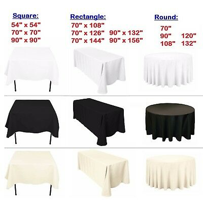 1pc Table Cloth Cover Round Square Rectangle Polyester for Banquet Wedding Party