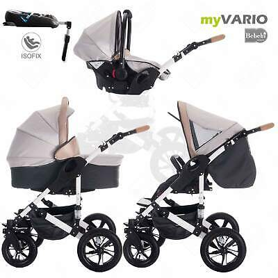 Bebebi myVARIO | 4 in 1 pram stroller baby carriages + ISOFIX | hard rubber whee