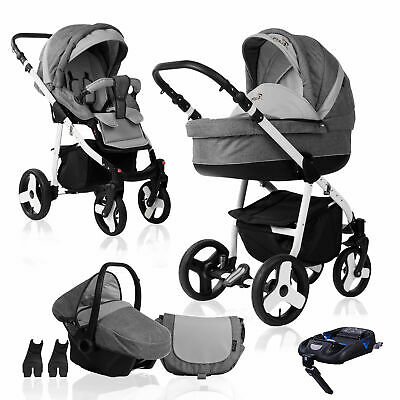 Bebebi Fizzy | ISOFIX base & car seat | 4 in 1 pram & pushchair set | hard rubbe