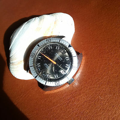 Vintage Waltham Divers/Diving Watch w/Mint Dial,Signed Crown,All SS Case,Patina