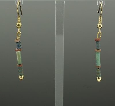 Beautiful Ancient Egyptian New Kingdom Faience Bead Earrings -1700 Bc 902