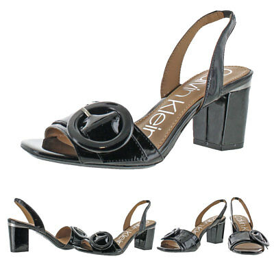 820b3818a8f Calvin Klein Claudia Women s Patent Leather Slingback Heeled Sandal Shoes