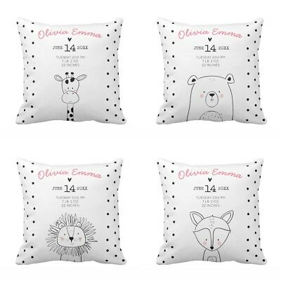 Baby Birth Stats Nursery Modern Animals Forest  Pillow Cover Soft Cushion Cover