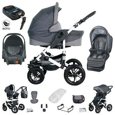 Friedrich Hugo Hamburg | 4 in 1 pram & pushchair set + ISOFIX | hard rubber whee