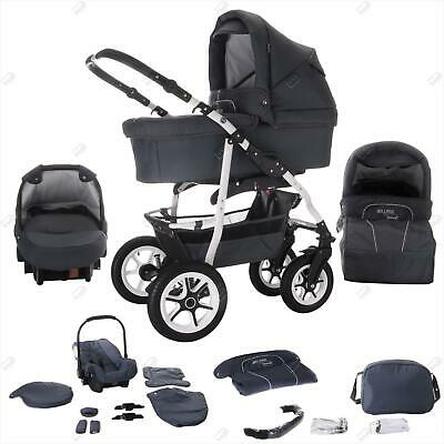 Bebebi Bellami | white hard rubber wheels | 3 in 1 pram & pushchair set