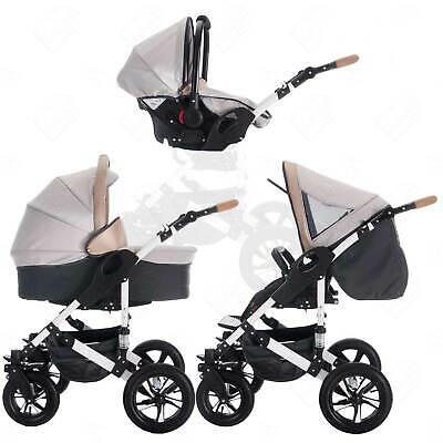 Bebebi myVARIO | 3 in 1 pram & pushchair set travel set | hard rubber wheels