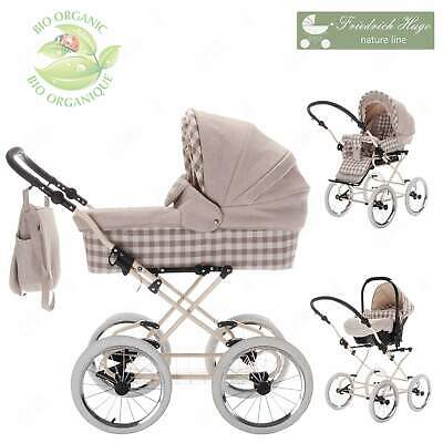 Friedrich Hugo Natureline Checked | 3 in 1 pram & pushchair set travel set | Öko