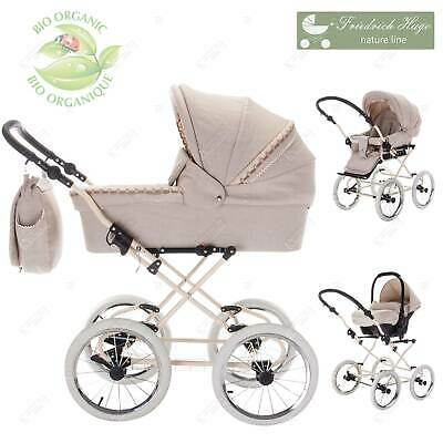 Friedrich Hugo Natureline Uni | 3 in 1 pram & pushchair set travel set | Öko Nos