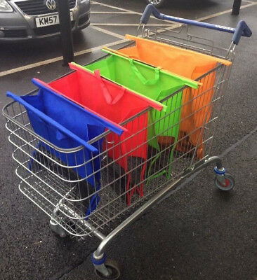 Trolley Bags Shopping Seperate Reuseable Carry Bags Coloured x4 Shop Help New