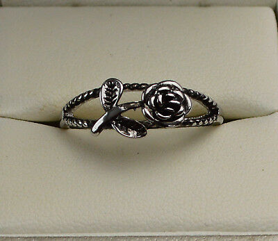 925 Sterling Silver Vintage/Antique Style Wild Rose Flower Ring Sizes I1/2 to T