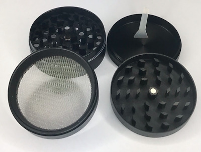 4 Piece Magnetic 2.5 Inch Black Tobacco Herb Grinder Spice With Scoop
