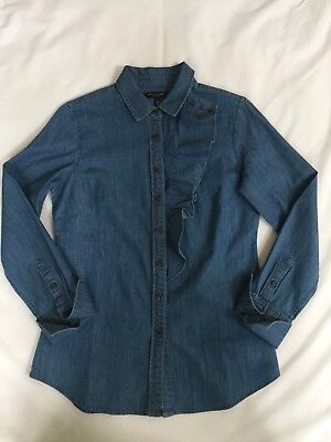 197d378765480a banana republic Riley front button Denim Shirt With Front Ruffle Size 4