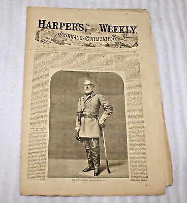 Original Harpers Weekly Newspaper July 2 1864 Robert E Lee Cover Civil War