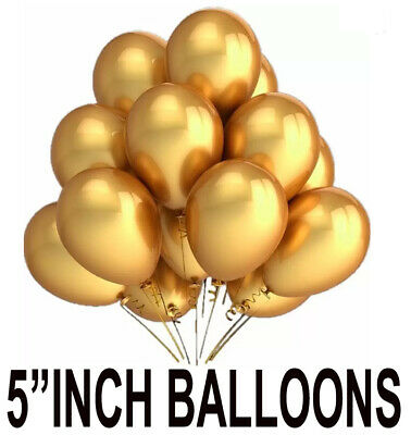 """5"""" Inch Packs of 25 latex Latex Balloons Pearl & Gold Colors wedding decor"""