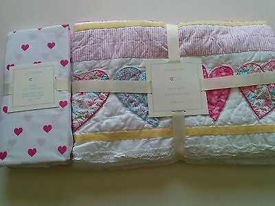 Pottery Barn Kids Baby Toddler Nursery Crib HEART Quilt & Fitted Sheet Set Pink